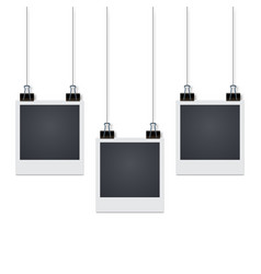 Three photo frames hang on the wall with shadow vector