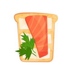 Toasted bread slice with smoked salmon fillet vector