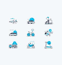 Transport line icons set vector