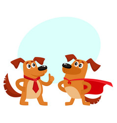 two dog characters in superhero cape thumb up vector image