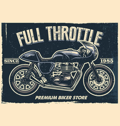 vintage motorcycle poster texture is easy to vector image