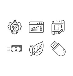 Web traffic clown and architect plan icons set vector