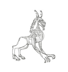 Wendigo crouching doodle art vector