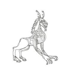 wendigo crouching doodle art vector image