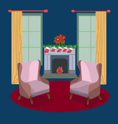 winter festive season house interior vector image