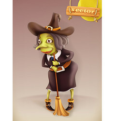 witch cartoon character halloween 3d icon vector image