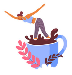 Woman dancing or diving into cup coffee vector