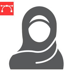 Woman wearing hijab glyph icon arab girl vector