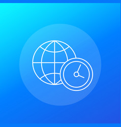 World time icon linear vector
