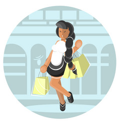 young girl carrying shopping bags vector image