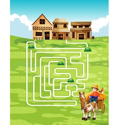 Game template with farmer and farm vector image vector image