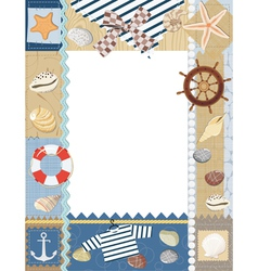 Marine photo frame vector image vector image