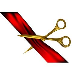 Scissors cut the ribbon vector image