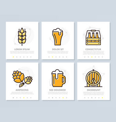set of beer and bar pub colored elements for vector image vector image