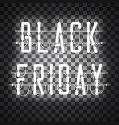 black friday white neon sign vector image vector image