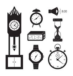 clocks icon set vector image vector image