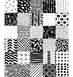 hand drawn seamless patterns set vector image vector image