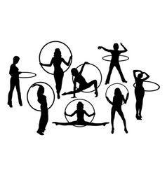 hula hoop girl activity silhouettes vector image vector image