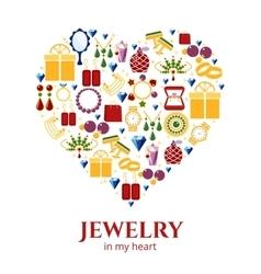 Jewelry heart shape vector