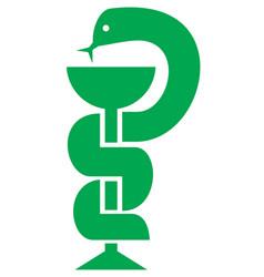 medical snake and bowl symbol for drugstore vector image vector image