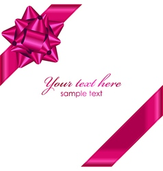 pink ribbon with bow vector image vector image