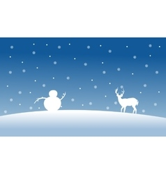 Silhouette of snowman and deer scenery vector image vector image