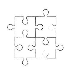 sketch puzzle piece jigsaw vector image