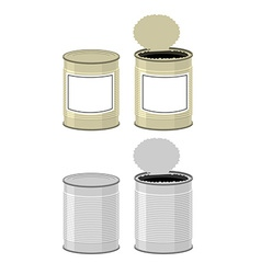 Template tin with design open a tin can tin on a vector