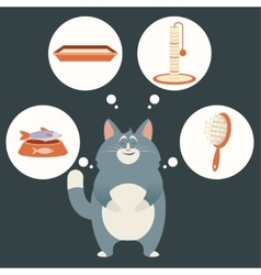 Cat and its simple dreams vector image