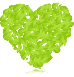 heart green leaves background vector image