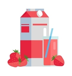 Paper Pack of Strawberry Juice vector image
