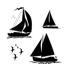 Yacht sailboats and gull set vector image vector image