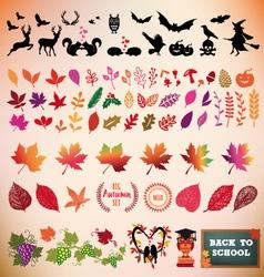 Autumn icon set design elements vector image vector image