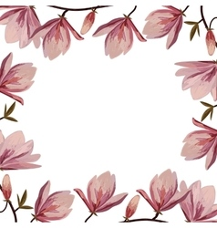 Beautiful frame with pink magnolia flowers vector