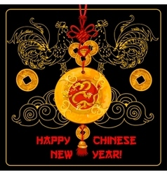 Chinese New Year greeting card with knot ornament vector image
