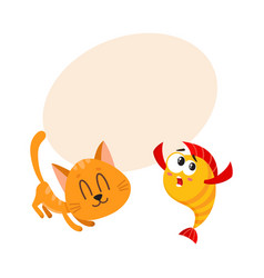 funny smiling cat kitten character trying to vector image vector image