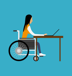 handicapped woman working with laptop vector image vector image