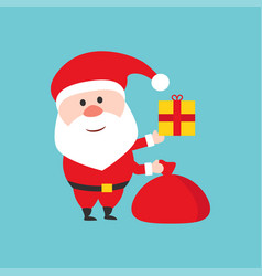 happy santa claus character holds the christmas vector image vector image