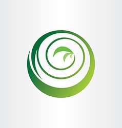 spiral bio circle plant ecology green icon logo vector image vector image