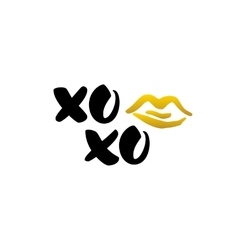 Xoxo kiss handwritten lettering vector