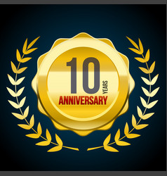 10 years anniversary gold and red badge logo vector image