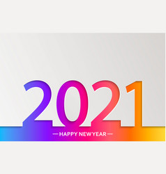 2021 new year bright greeting card in paper style vector image