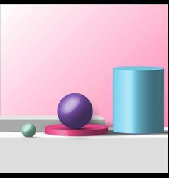 3d realistic geometric shapes pastel color vector image