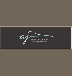 Aj initial signature logo - hand drawn logo vector
