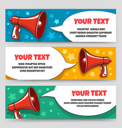 Announcement megaphone banners vector