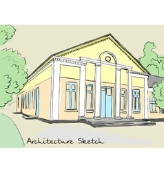 Architectural structure with columns Old school vector