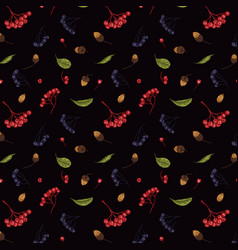 Autumn seamless pattern of rowan vector