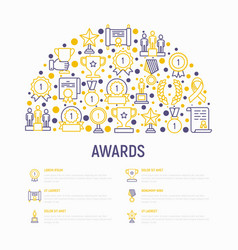 awards concept in half circle with thin line icons vector image
