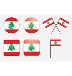 Badges with flag of Lebanon vector