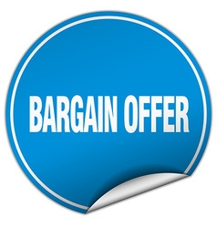 Bargain offer round blue sticker isolated on white vector